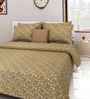 Swastika Brown Cotton Queen Size Bed Sheet with 2 Pillow Covers