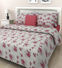 Swastika Maroon Cotton Queen Size Bed Sheet with 2 Pillow Covers