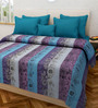 Swastika Multicolour 100% Cotton Queen Size Bed Cover