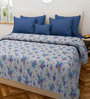 Swastika Blue and White 100% Cotton Queen Size Bed Cover