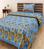 Swastika Multicolour 100% Cotton Single Size Bedsheet - Set of 2