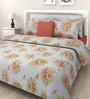 Swastika Off-white & Brown Cotton Queen Size Bed Sheet with 2 Pillow Covers