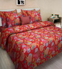 Swastika Red Cotton Queen Size Bed Sheet with 2 Pillow Covers