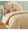 Swayam Beige Cotton Queen Size Bed Sheet - Set of 3