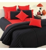 Swayam Black Cotton Queen Size Bed Sheet - Set of 3