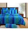 Swayam Blue Cotton Queen Size Bed sheet - Set of 3