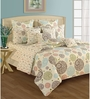 Swayam Cream Cotton Queen Size Bedding Set - Set of 4