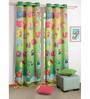 Swayam Digital Printed Kids Green Silk 60x48 INCH Eyelet Window Curtain