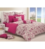 Swayam Magenta Cotton Queen Size Bedding Set - Set of 4