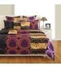 Swayam Magenta Cotton Queen Size Bedding Set - Set of 4
