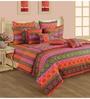 Swayam Orange Cotton Queen Size Bedding Set - Set of 4