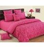 Swayam Pink Cotton Queen Size Bedding Set - Set of 4