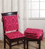 Swayam Pink Cotton 16 x 16 Inch Contemporary Chair Pad - Set of 4