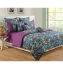 Swayam Purple Cotton Queen Size Bed Sheet - Set of 3