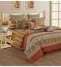 Swayam Rust Cotton Queen Size Bedding Set - Set of 4