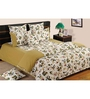 Swayam Sea Green Cotton Queen Size Bedding Set - Set of 4