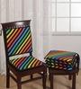 Swayam Multicolour Cotton 16 x 16 Inch Stripes Chair Pad - Set of 4