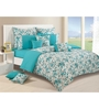Swayam Teal Cotton Queen Size Bedding Set - Set of 4
