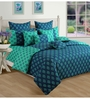 Swayam Turquoise Cotton Queen Size Bedding Set - Set of 4