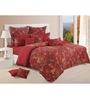 Swayam Wine Cotton Queen Size Bedding Set - Set of 4