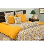 Swayam Yellow Cotton Queen Size Bedding Set - Set of 4