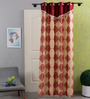 SWHF Red & Gold Cotton 83 x 47 Inch Paisley Door Curtain - Set of 2