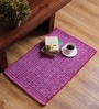 SWHF Pink Cotton 30 x 20 Inch Solid Rectangular Large Loop Area Rug