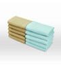 Swiss Republic Blue and Brown Cotton 11 x 11 Face Towel - Set of 10