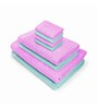 Swiss Republic Blue and Pink Cotton  Bath, Hand and Face Towel - Set of 8