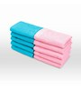 Swiss Republic Blue and Pink Cotton 11 x 11 Face Towel - Set of 10