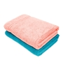 Swiss Republic Blue and Pink Cotton 28 x 59 Bath Towel - Set of 2