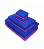 Swiss Republic Blue and Purple Cotton  Bath, Hand and Face Towel - Set of 8