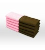 Swiss Republic Brown and Pink Cotton 11 x 11 Face Towel - Set of 10