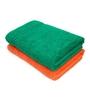 Swiss Republic Green and Orange Cotton 28 x 59 Bath Towel - Set of 2