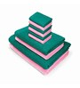 Swiss Republic Green and Pink Cotton  Bath, Hand and Face Towel - Set of 10