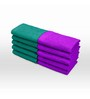 Swiss Republic Purple and Green Cotton 11 x 11 Face Towel - Set of 10