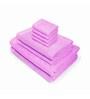 Swiss Republic Purple Cotton  Bath, Hand and Face Towel - Set of 8