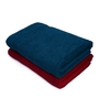 Swiss Republic Red and Blue Cotton 28 x 59 Bath Towel - Set of 2
