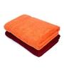 Swiss Republic Red and Orange Cotton 28 x 59 Bath Towel - Set of 2