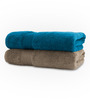 Swiss Republic Plaza Taupe & Blue Bath Towel - Set of Two
