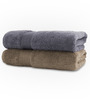 Swiss Republic Plaza Taupe & Gray Bath Towel - Set of Two