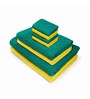 Swiss Republic Yellow and Green Cotton  Bath, Hand and Face Towel - Set of 8
