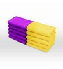 Swiss Republic Yellow and Purple Cotton 11 x 11 Face Towel - Set of 10