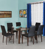 Symphony Six Seater Dining Set in Walnut Finish by @ Home