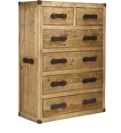 Tall Urban Chic Leather Handle Chest Of Drawer by Asian Arts