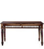 Taksh Handcrafted Six Seater Dining Set with Brown Upholstrey by Mudramark