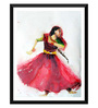 Tallenge Paper 12 x 0.5 x 17 Inch Indian Dancer A Delicate Watercolor Framed Digital Poster