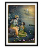 Tallenge Paper 12 x 0.5 x 17 Inch Krishna with Radha Playing Flute in Vrindavana Framed Digital Poster