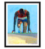 Tallenge Paper 14 x 0.5 x 18 Inch Spirit of Sports Concentration At The Starting Block Framed Digital Poster