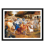 Tallenge Paper 17 x 0.5 x 12 Inch Krishna & The Cowherd Boys Leave for The Forest Framed Digital Poster